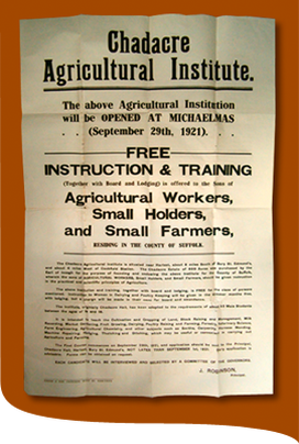 Chadacre Agricultural Institute poster, 1921